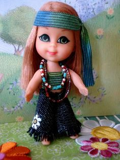 Mattel Liddle Kiddles OOAK Kiddle Kreation HIPPIE CHICK series, Anabelle