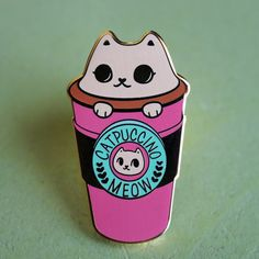 Catpuccino to go Hard Enamel Lapel Pin by LindaPanda on Etsy