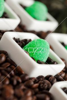 green jelly candies and coffee...