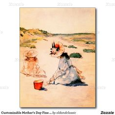 """Mother's Day Fine Art Postcards. """"On the Beach, Shinnecock 1895"""" by William Merritt Chase (1849 - 1916). Matching cards, postage stamps and other products available in the Holidays / Mother's Day Category of the oldandclassic store at zazzle.com"""