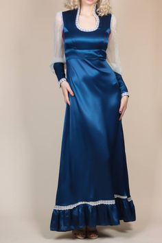 87548ca5c0 70s Gunne Sax Satin Lace Gown - Small