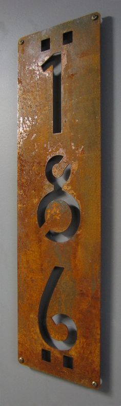 CUSTOM Mission Style Vertical House Numbers in Rusted Steel