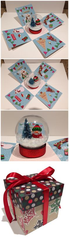 Snow globe christmas explosion box