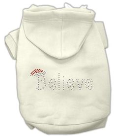 Believe Christmas Hoodie for Dogs Cream-XXX Large