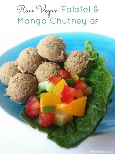 #raw #vegan Falafel & Mango Chutney #glutenfree #vancouver (plus the 14 Best Raw Meal Recipes for Summer) http://www.damyhealth.com/2013/07/the-best-summer-raw-meals/