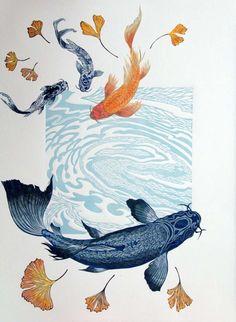 April Wilson - Koi Printmaking - April Wilson – Koi Printmaking -You can find Printmaking and more on our website. Koi Art, Fish Art, Kunst Inspo, Art Inspo, Art And Illustration, Illustrations Posters, Art Aquarelle, Watercolor Art, Koi Kunst
