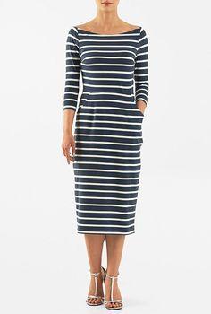 Stripe cotton knit bateau neck sheath dress #eShakti