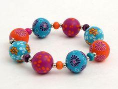 Künstler  Armband aus Polymer Clay Millefiori von polymerdesign