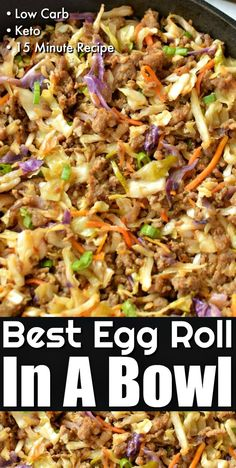 Best Low Carb Egg Roll In A Bowl - Easy Classic Egg Roll taste neatly served in a bowl without all the carbs! Best Low Carb Egg Roll In A Bowl - Easy Classic Egg Roll taste neatly served in a bowl without all the carbs! Low Carb Dinner Recipes, Cooking Recipes, Paleo Recipes, Pork Sausage Recipes, Carb Free Recipes, Best Low Carb Recipes, Low Sugar Recipes, Cheap Recipes, Budget Recipes