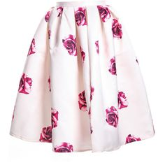Apricot Polyester Knee Length A Line Street Floral Skirts, Size Available: S,M Length(cm): S:70CM,M:71CM Style: Street.