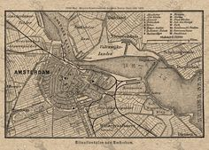 Vintage map of Amsterdam Instant Download image от UnoPrint