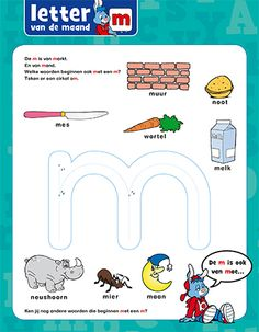 Oefen de letter m - Bobo Mickey Coloring Pages, Letter K, Exercise For Kids, Home Schooling, Afrikaans, Spelling, Homeschool, Restaurant, Teaching