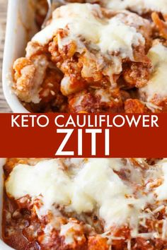 Low Carb Recipes Keto Cauliflower Ziti - Enjoy all the flavours of hearty Italian meal without the carbs! This keto casserole is meaty and cheesy. - Enjoy all the flavours of hearty Italian meal without the carbs! This keto casserole is meaty and cheesy. Ketogenic Recipes, Low Carb Recipes, Diet Recipes, Cooking Recipes, Ketogenic Diet, Healthy Recipes, Smoothie Recipes, Cooking Games, Vegetarian Food