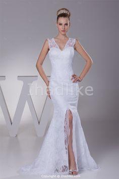 Sleeveless Satin V-shaped Mermaid/ Trumpet Wedding Dresses -Wedding Dresses Wholesale Price: US$ 169.99