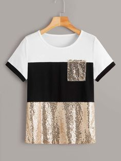To find out about the Contrast Sequin Color-block Tee at SHEIN, part of our latest T-Shirts ready to shop online today! Sequin Fabric, T Shirts For Women, Clothes For Women, Lingerie Sleepwear, Blouse Designs, Color Blocking, Shirt Style, Fashion Dresses, Sequins