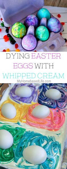 This year we wanted to try a few different things. Dying easter egg with whipped cream seemed like an easy way to color eggs without the big mess of other ways. #easter #eastereggs #dyingeastereggs