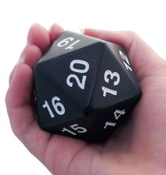 Giant d20 (Black). Welcome to the big time with a Giant d20. This ginormous d20 is a whopping 55mm -- way larger than the 16mm size we're all familiar with in a standard set of RPG dice. Tabletop Rpg, Tabletop Games, Dungeons And Dragons Miniatures, Playing Dice, Die Games, Chaotic Neutral, Dark Elf, Apple Tv, Card Games
