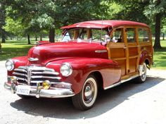 """1948 Chevrolet Fleetmaster   (....cr....we used to call these cars, """"Beach Wagons""""....a family with 12 kids has one when I was little...they were the only ones I knew with this kind of car)"""