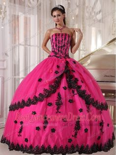 Home :: Pretty Quinceanera Dresses :: Hot Pink Ball Gown Strapless ...