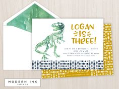 Dinosaur Bones Birthday Party Invitation. Printable Digital File OR Printed Invites. by moderninkpaperco on Etsy https://www.etsy.com/listing/510758464/dinosaur-bones-birthday-party-invitation