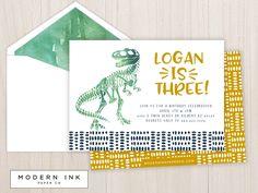 Dinosaur Bones Birthday Party Invitation. Printable Digital File OR Printed Invites. by moderninkpaperco on Etsy https://www.etsy.com/listing/510758464/dinosaur-bones-birthday-party-invitation