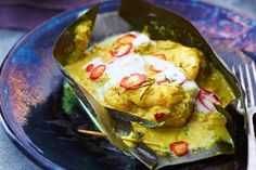 Seafood amok (Traditional Cambodian seafood curry)