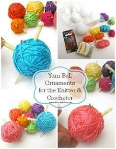Use all those leftover yarn scraps to make these quick, easy, inexpensive yarn ball ornaments for the Crocheters & Knitters in your life!