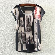 De las mujeres Estampado Camiseta-Escote Redondo-Mezclas de Algodón-Manga Corta 2712657 2016 – $5.99