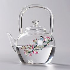 Magpie And Peach Blossom Glass Teapot, You can appreciate break fast or different time periods applying tea cups. Tea cups likewise have ornamental features. Once you look at the tea pot models, you might find this clearly. Glass Teapot, Glass Tea Cups, Teapots And Cups, How To Make Tea, Chocolate Pots, Tea Time, Tea Party, Pottery, Magpie