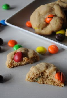 Peanut Butter Cookies with Peanut Butter M&M Candies by @Kelley Oberg Smith Epstein {Mountain Mama Cooks}