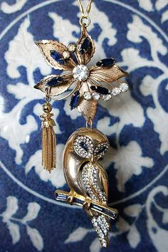 Elegant Owl Necklace made of Vintage Jewelry. $110.00, via Etsy.