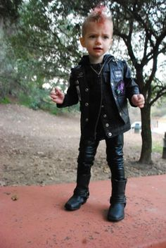 I'm going to dress my kid like this! Now, where do I buy tiny leather pants? HAHA  just kidding