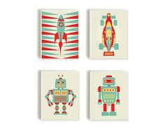 Baby Art Print,Robot Print, Room Decor,Nursery Decor,Nursery Wall Art, Children's Wall Art, Playroom Decor, Retro Robot, Kids Poster