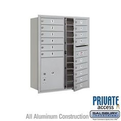4C Horizontal Mailbox (Includes Master Commercial Locks) - 11 Door High Unit (41 Inches) - Double Column - 15 MB1 Doors / 1 PL5 - Aluminum - Front Loading - Private Access by Salsbury Industries. $922.50. 4C Horizontal Mailbox (Includes Master Commercial Locks) - 11 Door High Unit (41 Inches) - Double Column - 15 MB1 Doors / 1 PL5 - Aluminum - Front Loading - Private Access - Salsbury Industries - 820996411341. Save 10%!