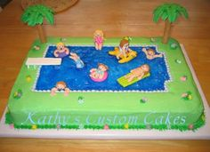 Swimming Pool Cake I made this for my niece's pool party birthday. She is the one on the yellow seal. All the little characters had...
