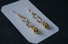 Gold and purple Dangle earrings Chainmaille by Tasseldelights