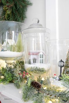 Sharing some festive and fun Christmas Decorations. Add these Christmas Jars with little Christmas Village scenes.