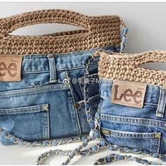 Newest Totally Free Good idea for the jeans we no longer wear - Bags - # for . Ideas I love Jeans ! And even more I like to sew my very own Jeans. Next Jeans Sew Along I am likely to Jean Crafts, Denim Crafts, Crochet Handbags, Crochet Purses, Denim Handbags, Denim Purse, Denim Bags From Jeans, Denim Ideas, Diy Jeans