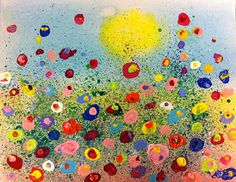 Angela Anderson Art Blog: Fun Splatter Floral Paintings - Kid's Art Class  with really good directions on how to do this project