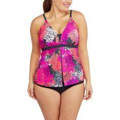 Free Tech Women's Plus-Size Sporty Flyaway Tankini Top, Size: 2XL, Pink