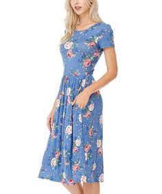 Reborn J Denim Blue & Pink Floral Short-Sleeve Dress | zulily