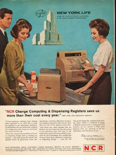 """1962 NCR REGISTERS vintage magazine advertisement """"Change Computing"""" ~ """"NCR Change Computing & Dispensing Registers save us more than their cost every year."""" - New York Life Insurance Company ... Edward W. McPherson, Vice President, New York Life Insurance Company ~"""