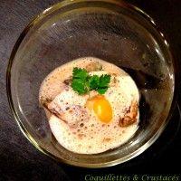 raviole de langoustine, bouillon mousseux de morilles...  http://coquillettesetcrustaces.com/philosophie-de-comptoir/