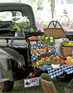 picnic in the country on a truck haha