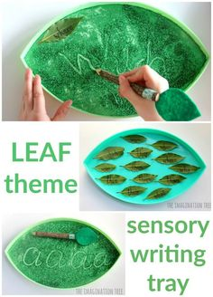 Leaf sensory writing tray literacy activity for kids: These trays can be used for early mark-making, pattern making, letter formation, name writing, numeral copying and sight word learning! Days Of The Week Activities, Fine Motor Activities For Kids, Sensory Activities Toddlers, Sensory Bags, Sensory Play, Multi Sensory, Children Activities, Baby Activities, Spelling Word Games