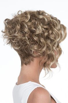 Wig features: Open Top As if the asymmetric, angled styling didn't add enough drama to this fashion-forward bob, Kelsey's long, lustrous curls make this wig a true show stopper. As part of our Open Top collection, you can be sure Kelsey offers the maximum Curly Bob Hairstyles, Hairstyles With Bangs, Curly Hair Styles, Hairstyles 2016, 1950s Hairstyles, Hairstyle Men, Formal Hairstyles, Short Curly Bob, Short Hair Cuts