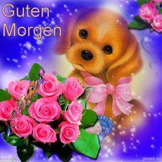 Guten Morgen Hund Blumen