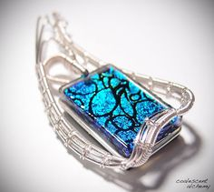 Fused Glass Woven Wire Pendant Sterling by CoalescentAlchemy