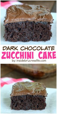 Dark Chocolate and zucchini make this cake to die for. I made it three days in row because it was so good! Amazing dessert recipe!