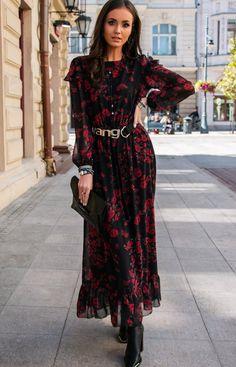 Roco Wzorzysta sukienka maxi 253/D82 Vintage Goth, Vintage Fashion, Dark Fairytale, Goth Style, Dresses With Sleeves, Long Sleeve, Girls, How To Wear, Beautiful